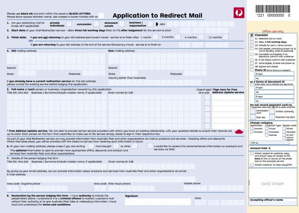 Mail Redirection Application - Australia Post